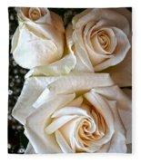 Three White Roses Fleece Blanket