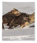Three Wolves Fleece Blanket