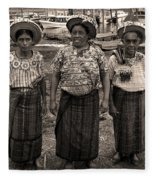 Three Women In Atitlan Fleece Blanket