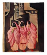 Three Women On The Street Of Baghdad Fleece Blanket