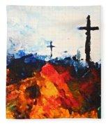 Three Wooden Crosses Fleece Blanket