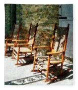 Three Wooden Rocking Chairs On Sunny Porch Fleece Blanket