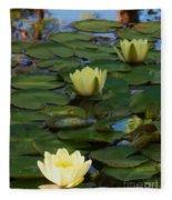 Three  Yellow Lilies Fleece Blanket