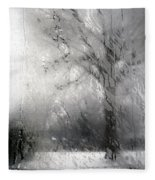 Through Glass -- A Tree In Winter Fleece Blanket