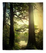 Through The Forest To The Lake Fleece Blanket