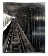 Through The Last Subway Car Window 3 Fleece Blanket