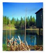 Through The Reeds At Grace Lake Fleece Blanket