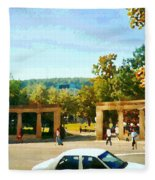 Thru Roddick Gates Your Future Awaits Mcgill University Paintings Montreal Art Carole Spandau Fleece Blanket