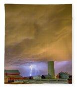 Thunderstorm Hunkering Down On The Farm Fleece Blanket