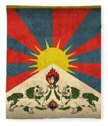 Tibet Flag Vintage Distressed Finish Fleece Blanket