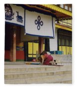 Tibet Prayer 1 Fleece Blanket