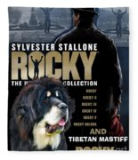 Tibetan Mastiff Art Canvas Print - Rocky Movie Poster Fleece Blanket