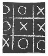 Tic-tac-toe On A Chalkboard Fleece Blanket