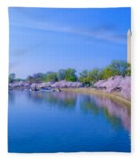 Tidal Basin And Washington Monument With Cherry Blossoms Fleece Blanket