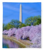 Tidal Basin And Washington Monument With Cherry Blossoms Vertical Fleece Blanket