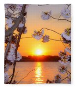 Tidal Basin Sunset With Cherry Blossoms Fleece Blanket