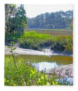 Tidal Creek In The Savannah Fleece Blanket