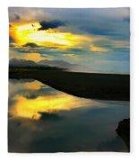 Tidal Pond Sunset New Zealand Fleece Blanket