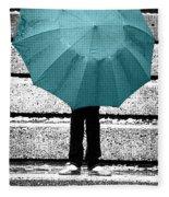 Tiffany Blue Umbrella Fleece Blanket