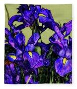 Tiffany Style Blue Iris Fleece Blanket