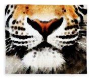 Tiger Art - Burning Bright Fleece Blanket