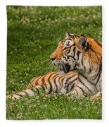 Tiger At Rest 3 Fleece Blanket