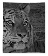 Tiger Bw Fleece Blanket