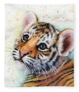Tiger Cub Watercolor Art Fleece Blanket