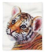 Tiger Cub Watercolor Painting Fleece Blanket