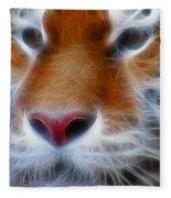Tiger Face Fractal Fleece Blanket