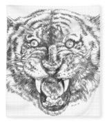 Tiger Head Fleece Blanket