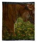 Tiger In The Midst Of Buttercups Fleece Blanket