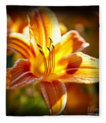 Tiger Lily Flower Fleece Blanket