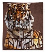 Tiger Majesty Typography Art Fleece Blanket