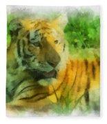 Tiger Resting Photo Art 01 Fleece Blanket