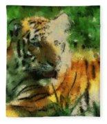 Tiger Resting Photo Art 03 Fleece Blanket