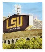 Tiger Stadium - Bw Fleece Blanket