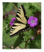 Tiger Swallowtail Butterfly On Geranium Fleece Blanket