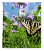 Tiger Swallowtail On Pincushion Flowers Fleece Blanket