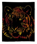 Tiger Watercolor - Black Fleece Blanket