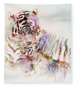Tiger With Cub Watercolor Fleece Blanket