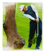 Tiger Woods Hits A Shot From The Rough Fleece Blanket