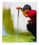 Tiger Woods Lines Up A Putt On The 18th Green Fleece Blanket