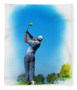 Tiger Woods Plays His Tee Shot On The 15th Hole Fleece Blanket