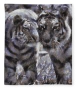 Tigers Photo Art 02 Fleece Blanket