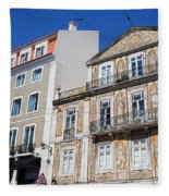 Tiled Building In Chiado District Of Lisbon Fleece Blanket