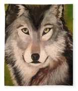 Timber Wolf In Summer Fleece Blanket