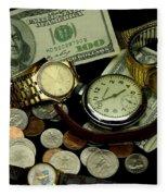 Time And Money Fleece Blanket