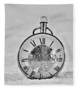 Time In The Sand In Black And White Fleece Blanket