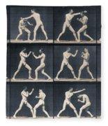 Time Lapse Motion Study Men Boxing Fleece Blanket